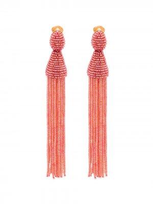 Серьги с кисточками из бисера Oscar de la Renta. Цвет: розовый