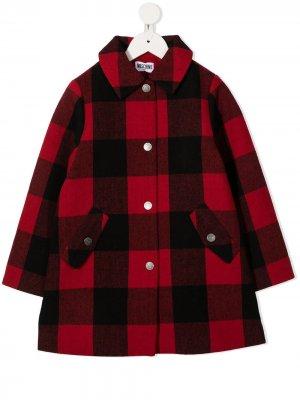 Пальто в клетку Moschino Kids. Цвет: черный