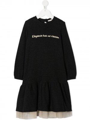 Платье-свитер Elegance с баской Zhoe & Tobiah. Цвет: серый