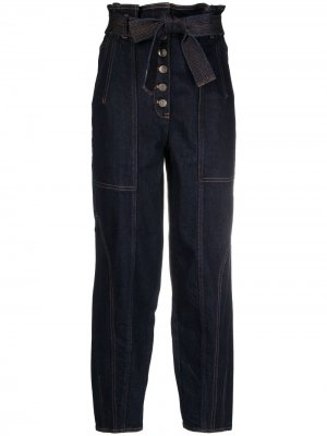 Укороченные джинсы с завышенной талией Ulla Johnson. Цвет: синий