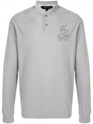 Рубашка поло с длинными рукавами и вышивкой Shanghai Tang. Цвет: серый