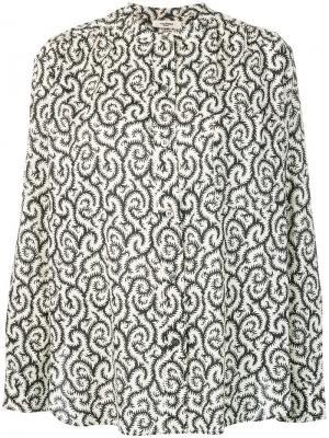 Рубашка с воротником-стойкой и принтом Isabel Marant Étoile. Цвет: белый