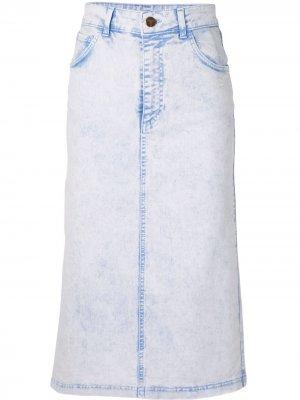Джинсовая юбка прямого кроя Vivetta. Цвет: синий