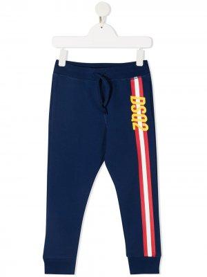 Спортивные брюки с логотипом и полосками Dsquared2 Kids. Цвет: синий