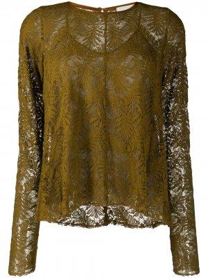 Кружевная многослойная блузка Forte. Цвет: зеленый