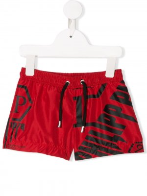 Плавки-шорты с кулиской и логотипом Philipp Plein Junior. Цвет: красный