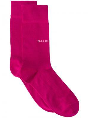 Носки с логотипом New Balenciaga. Цвет: розовый и фиолетовый