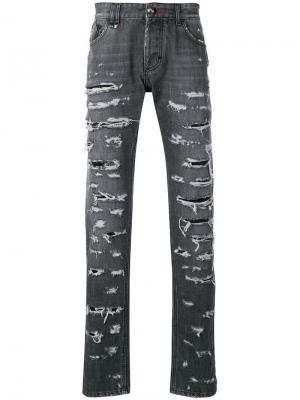 Прямые джинсы с прорехами Philipp Plein. Цвет: серый