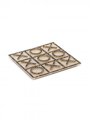 Набор для игры в крестики-нолики с кристаллами Rosantica. Цвет: серебристый