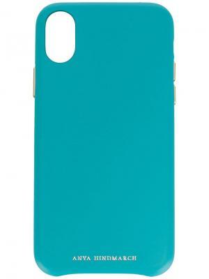 Чехол для iPhone X Pimp Your Phone Anya Hindmarch. Цвет: синий