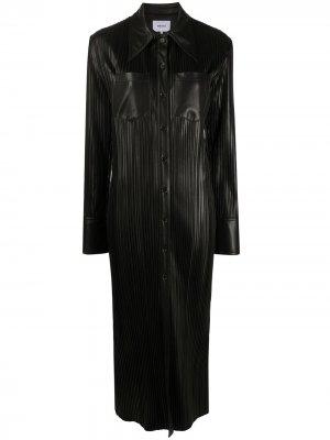 Платье-рубашка Lee в рубчик Nanushka. Цвет: черный