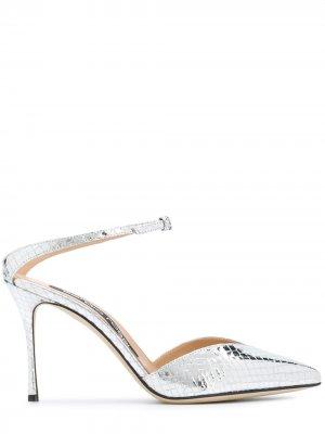 Туфли-лодочки с тиснением под кожу змеи Sergio Rossi. Цвет: серебристый