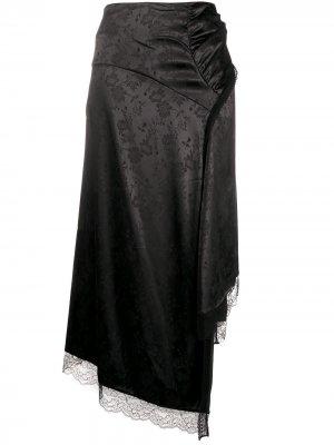 Юбка асимметричного кроя с цветочным жаккардовым узором Preen By Thornton Bregazzi. Цвет: черный