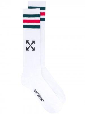 Носки с полосками Off-White. Цвет: белый