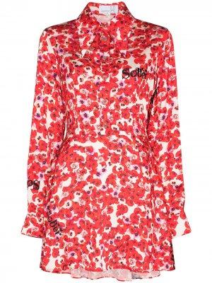 Платье-рубашка длины мини с цветочным принтом Natasha Zinko. Цвет: красный