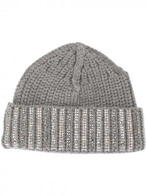 Декорированная шапка бини Ermanno Scervino. Цвет: серый