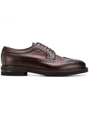Броги с миндалевидным носком на шнуровке Henderson Baracco. Цвет: коричневый