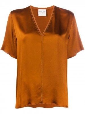 Атласная блузка с короткими рукавами Forte. Цвет: коричневый
