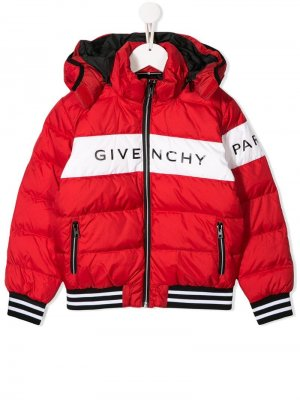 Куртка-пуховик с логотипом Givenchy Kids. Цвет: красный