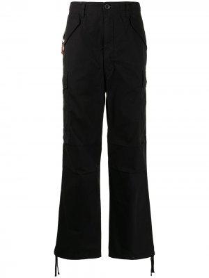 Брюки прямого кроя с карманами карго izzue. Цвет: черный