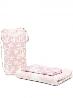 Комплект из сумки и парео с цветочным принтом Chanel Pre-Owned. Цвет: розовый