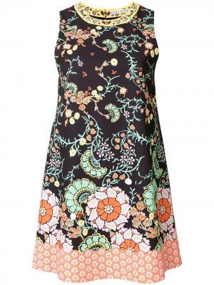 Платье с цветочным принтом Alice+Olivia. Цвет: черный