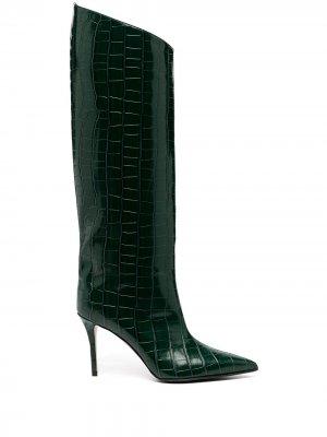 Сапоги Eva с тиснением под кожу крокодила Le Silla. Цвет: зеленый