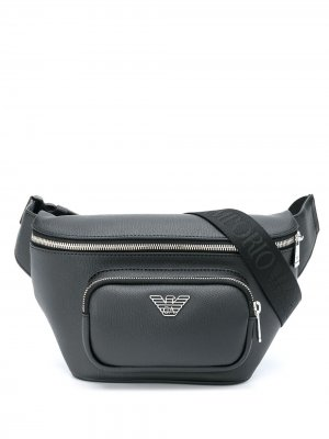 Поясная сумка с логотипом Emporio Armani. Цвет: черный
