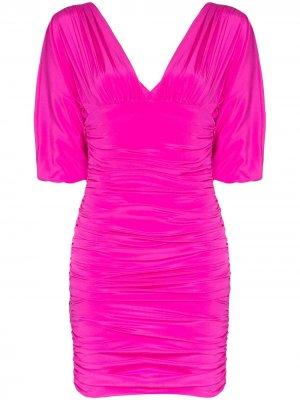 Платье мини со сборками Alexandre Vauthier. Цвет: розовый