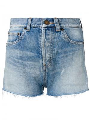 Джинсовые шорты с эффектом потертости Saint Laurent. Цвет: синий