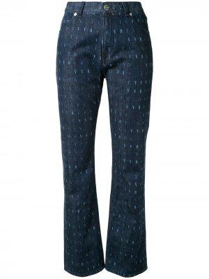 Укороченные джинсы с принтом Victoria Beckham. Цвет: синий