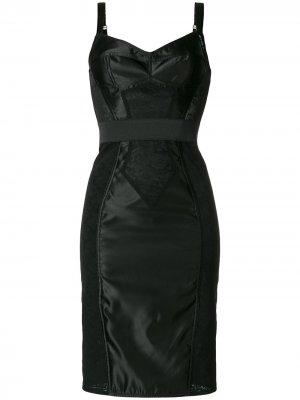 Компрессионная комбинация с отделкой кружевом Dolce & Gabbana. Цвет: черный