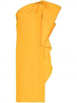 Платье миди на одно плечо с драпировкой Carolina Herrera. Цвет: желтый