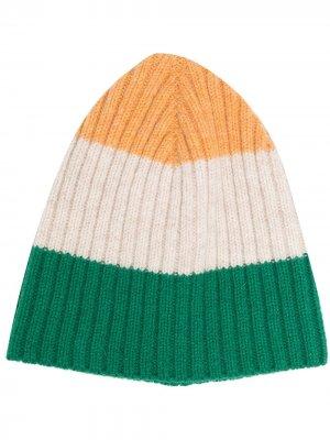 Вязаная шапка в стиле колор-блок YMC. Цвет: зеленый