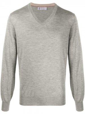 Пуловер с V-образным вырезом Brunello Cucinelli. Цвет: серый
