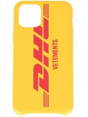 Чехол для iPhone 11 Pro из коллаборации с DHL Vetements. Цвет: желтый