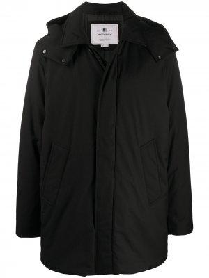 Однобортное пальто с капюшоном Woolrich. Цвет: черный