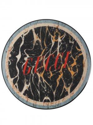 Шкатулка с мраморным принтом и логотипом Gucci. Цвет: черный
