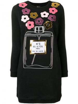 Платье-свитер с аппликацией розами Nil & Mon. Цвет: черный