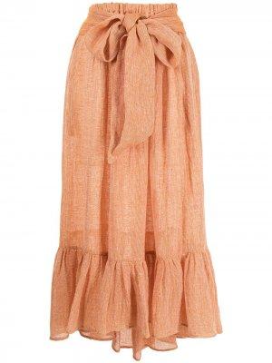 Плиссированная юбка макси Nicole Lisa Marie Fernandez. Цвет: оранжевый