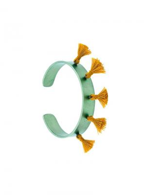 Браслет-кафф Titan с кисточками Eye M By Ileana Makri. Цвет: зеленый
