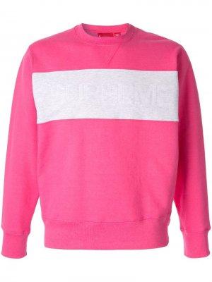 Толстовка с логотипом Supreme. Цвет: розовый