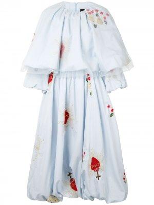 Расклешенная блузка из тюля Simone Rocha. Цвет: синий