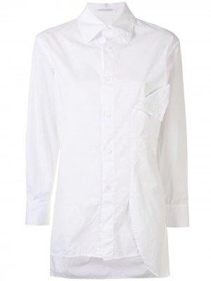 Рубашка с драпировкой и заостренным воротником Yohji Yamamoto. Цвет: белый