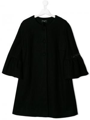 Пальто с рукавами оборками Monnalisa. Цвет: черный