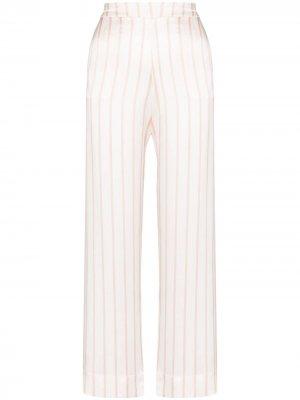 Пижамные брюки London в полоску Asceno. Цвет: белый