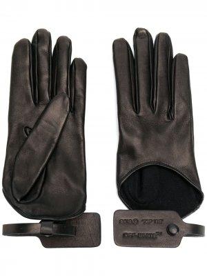 Перчатки со вставкой Off-White. Цвет: черный