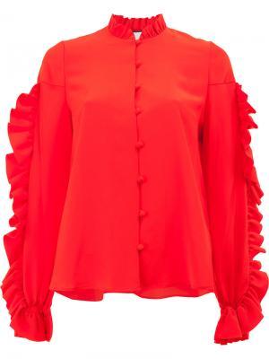 Блузка с длинными рукавами оборками Alexis. Цвет: красный