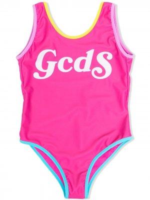 Купальник с контрастной отделкой и логотипом Gcds Kids. Цвет: розовый