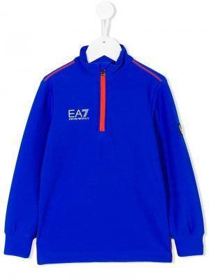 Пуловер с короткой молнией Ea7 Kids. Цвет: синий